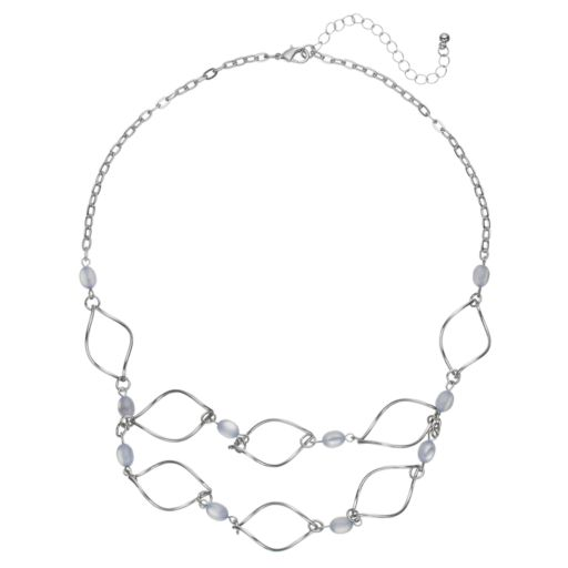 Blue Bead Twisted Marquise Swag Necklace