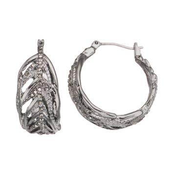 Simply Vera Vera Wang Openwork Feather Nickel Free Hoop Earrings