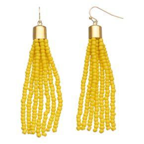 Yellow Seed Bead Nickel Free Tassel Drop Earrings