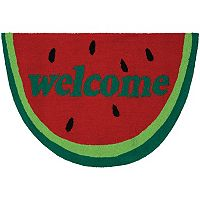 Couristan Covington Accents ''Welcome'' Slice Indoor Outdoor Rug - 2' x 3'