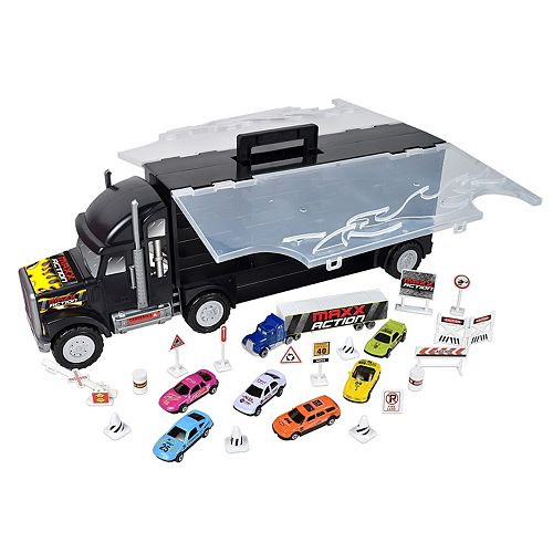 Maxx Action Big Rig Hauler Car Case & 13 Diecast Cars Set