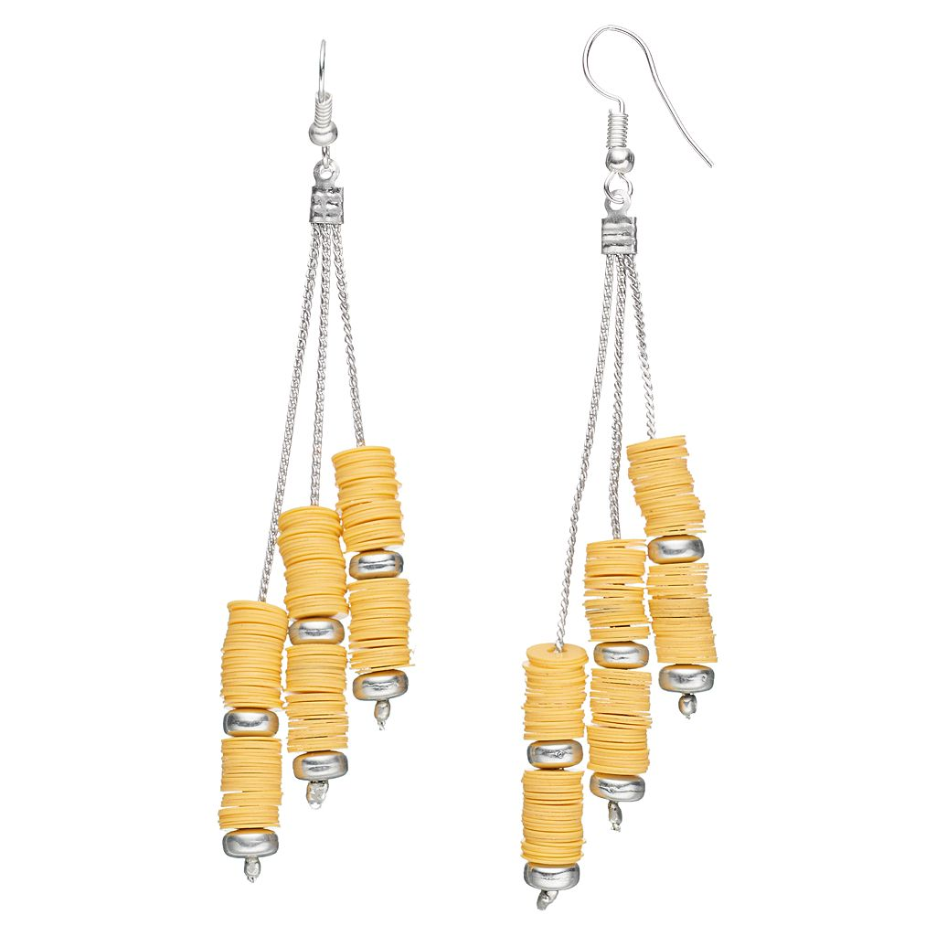 Yellow Disc Bead Nickel Free Asymmetrical Drop Earrings