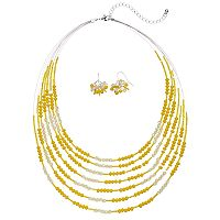 Yellow Beaded Multi Strand Necklace & Drop Earring Set
