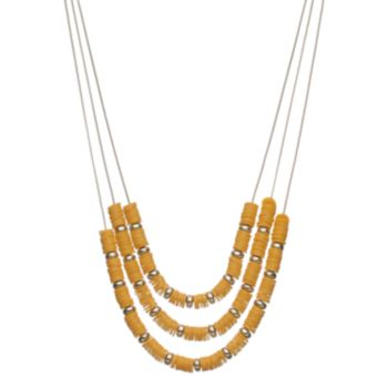 Yellow Disc Bead Multi Strand Necklace