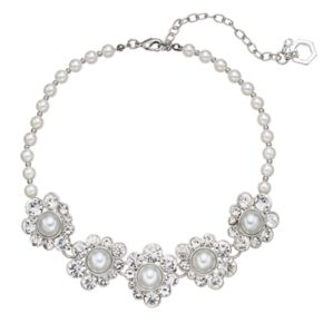 Simply Vera Vera Wang Simulated Pearl & Simulated Crystal Halo Choker Necklace