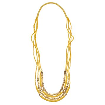 Yellow Beaded Multi Strand Necklace