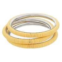 Yellow Disc Bead Bangle Bracelet Set
