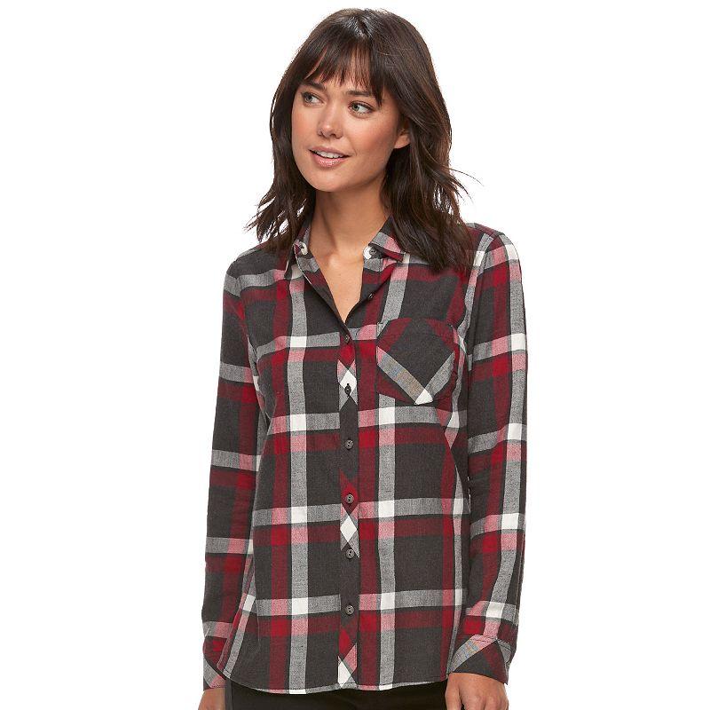 0d57cb21 Women's SONOMA Goods for Life™ Essential Plaid Flannel Shirt (Dark ...