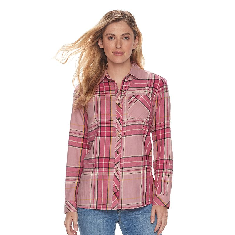 8d7f984b Women's SONOMA Goods for Life™ Essential Plaid Flannel Shirt (Med Pink)