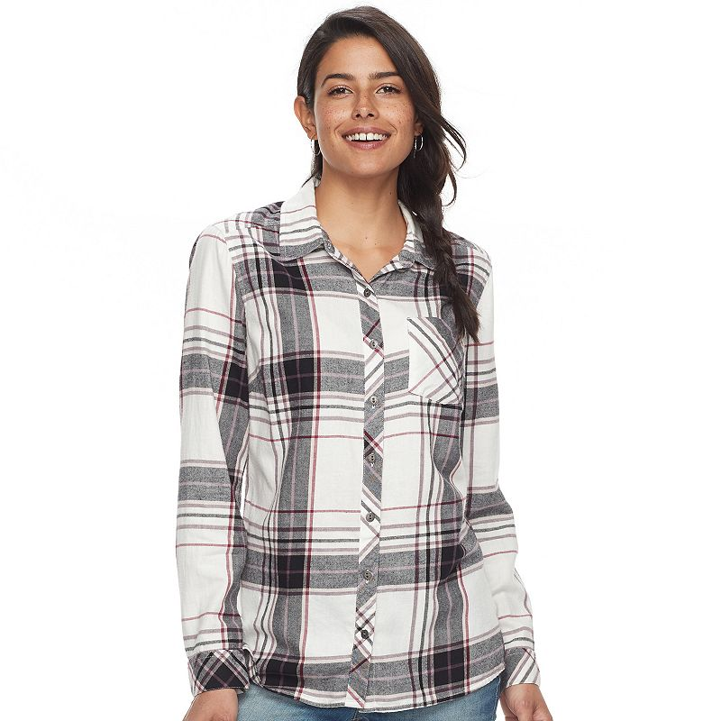 eade9c77 Women's SONOMA Goods for Life™ Essential Plaid Flannel Shirt (Med Red)