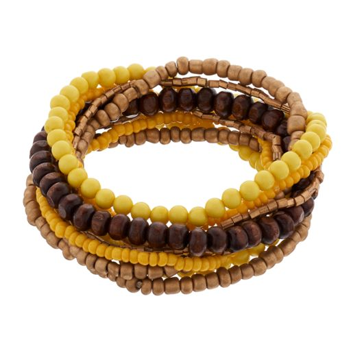 Yellow & Wooden Bead Stretch Bracelet Set