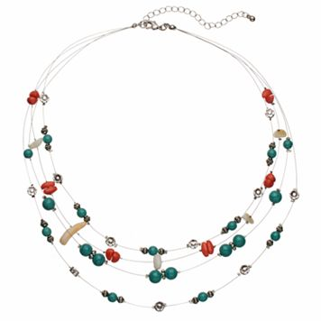 Flower & Simulated Turquoise Multi Strand Station Necklace