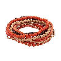Orange Wooden Bead Stretch Bracelet Set