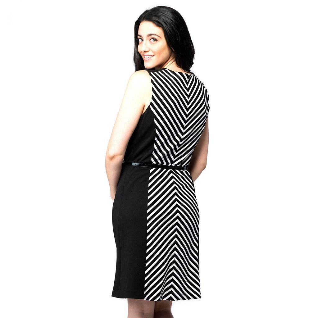 Women's ILE New York Colorblock Striped Sheath Dress