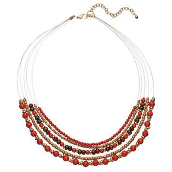 Red Beaded Multi Strand Necklace