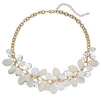 White Shaky Bead Cluster Necklace