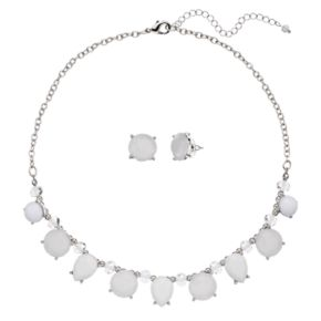 White Geometric Stone Necklace & Stud Earring Set