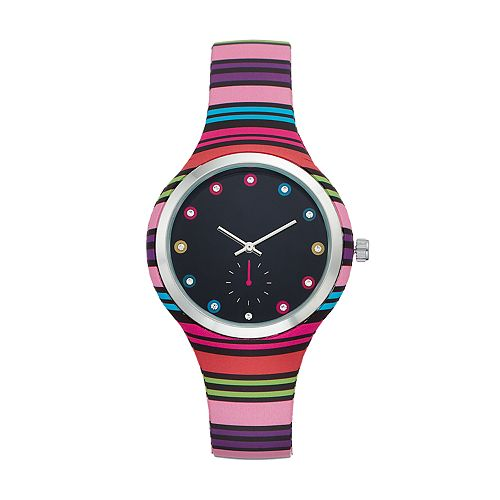 Women's Crystal Accent Striped Watch