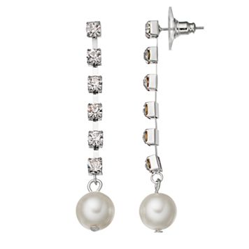Simply Vera Vera Wang Simulated Crystal Chain Nickel Free Linear Earrings