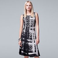Women's Simply Vera Vera Wang Abstract Jacquard Fit & Flare Dress