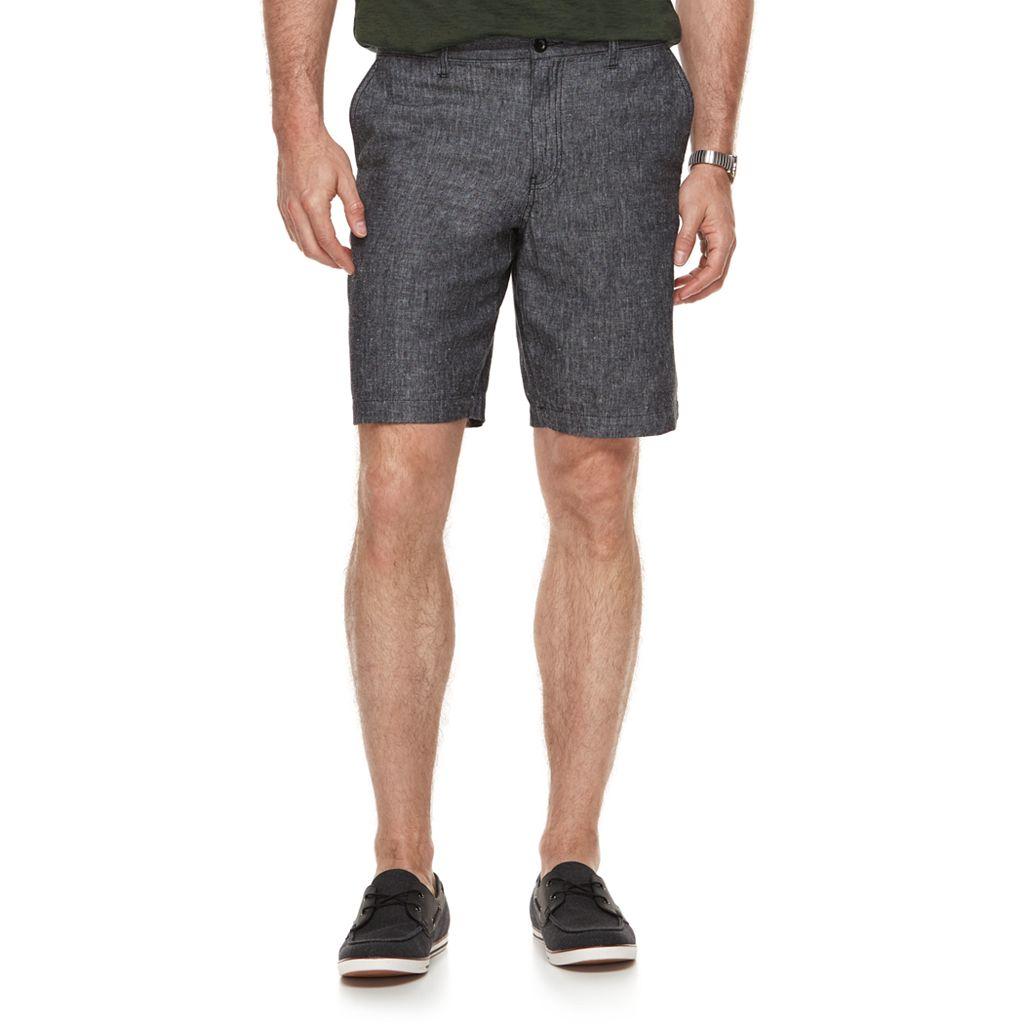 Men's Marc Anthony Slim-Fit Herringbone Linen-Blend Shorts