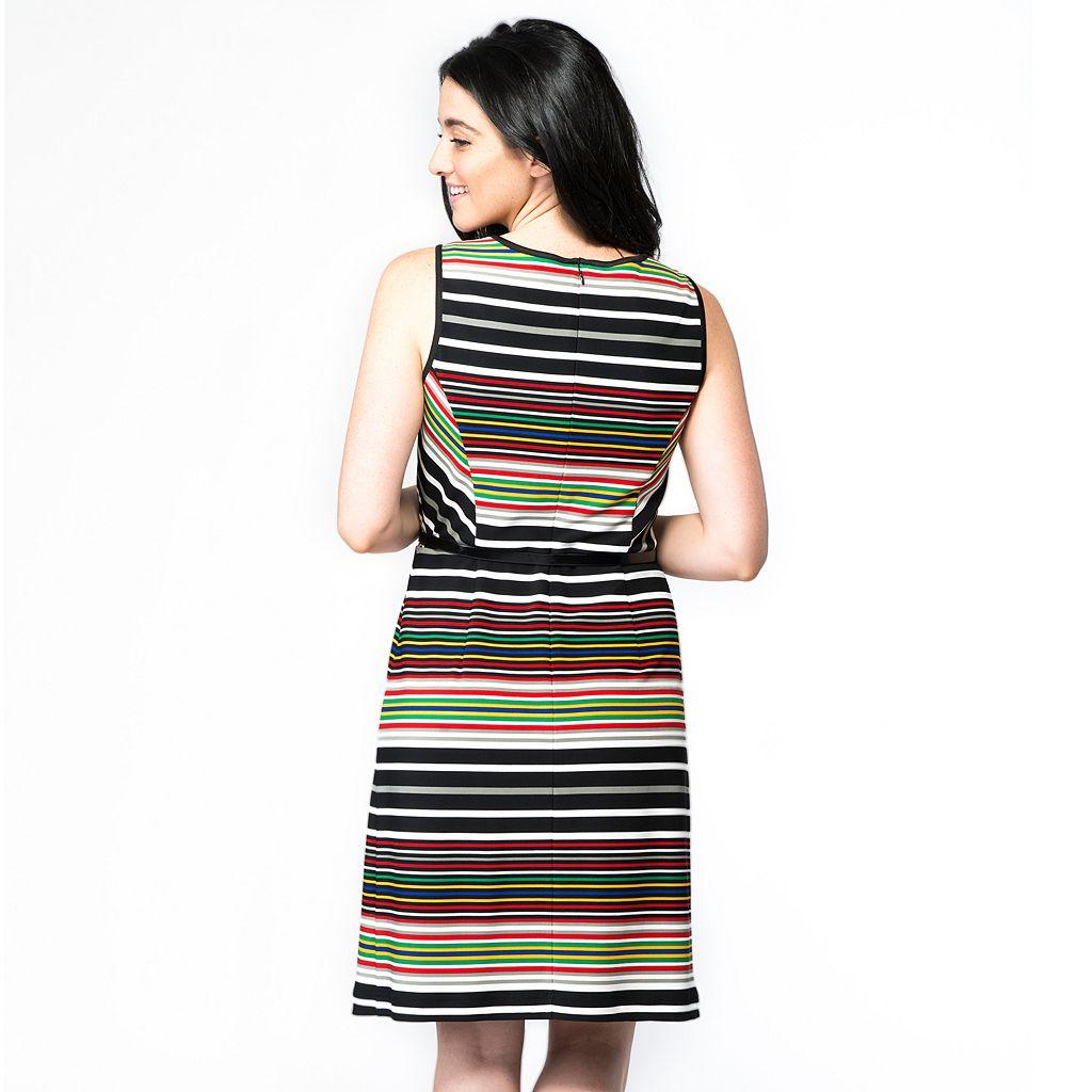 Women's ILE New York Striped Fit & Flare Dress