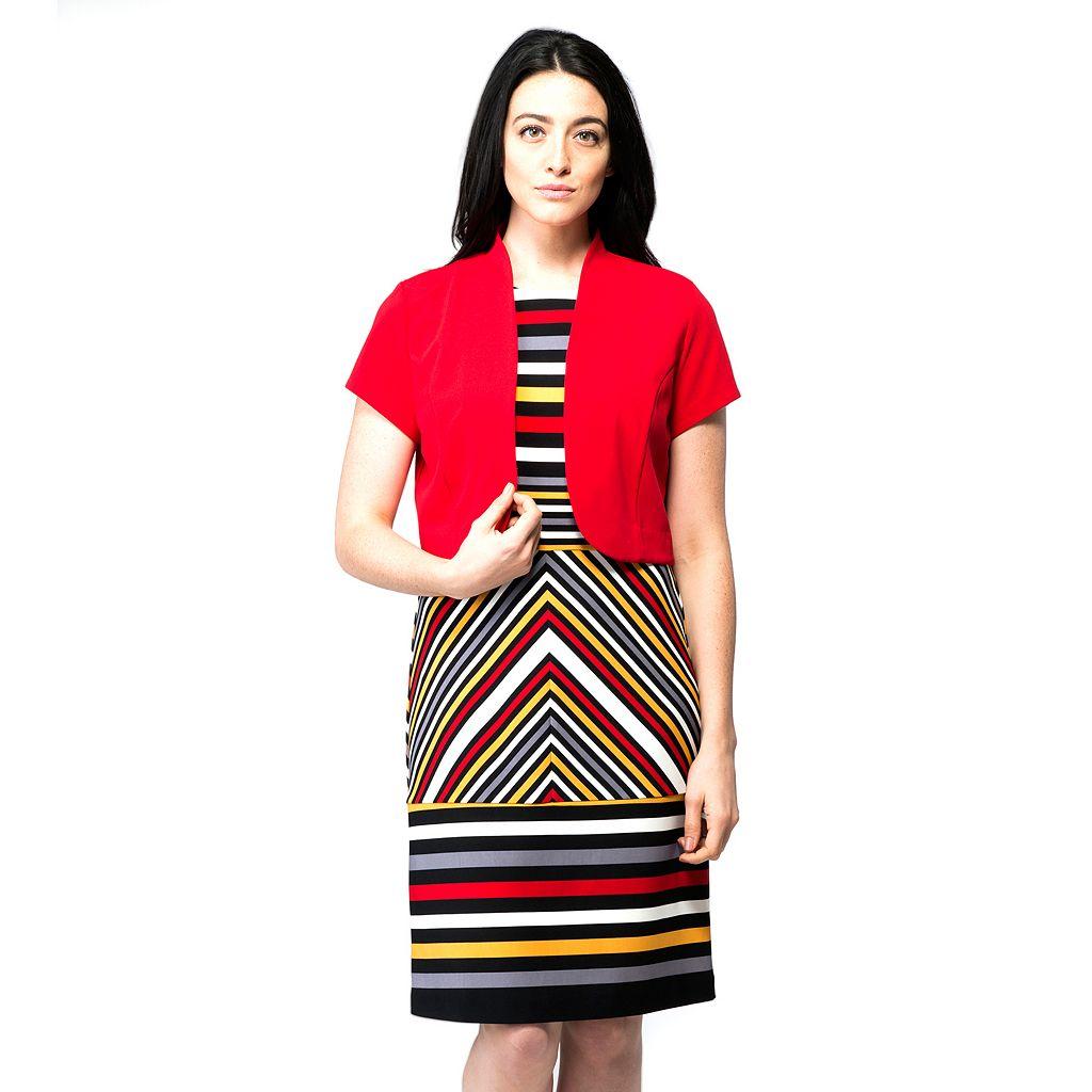 Women's ILE New York Striped Dress & Jacket Set