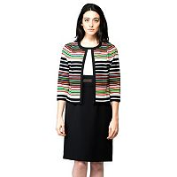 Women's ILE New York Colorblock Sheath Dress & Striped Jacket Set