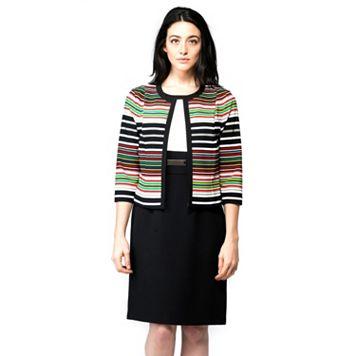 Women's ILE New York Colorblock Sheath Dress & Striped Jacket Set