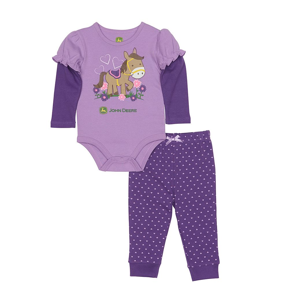 Baby Girl John Deere Mock-Layer Bodysuit & Heart Pants Set