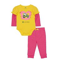 Baby Girl John Deere Mock-Layer Bodysuit & Heart Pants Set