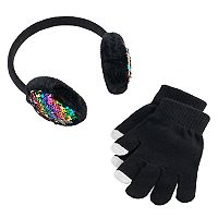Girls 4-16 Sequin Earmuffs & Gloves Set