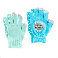 Girls 4-16 2 pkCat Touchscreen Gloves Set