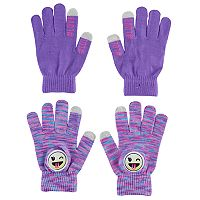 Girls 4-16 Emoji Touchscreen Gloves Set