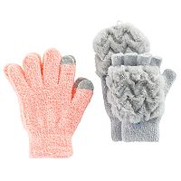 Girls 4-16 2 pkFaux-Fur & Chenille Gloves Set