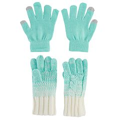 Girls 4-16 Cable-Knit Touchscreen Gloves Set