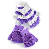 Girls 4-16 Fuzzy Flip-Top Mittens & Gloves Set