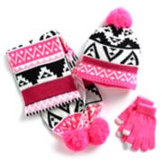 Girls 4-16 Tribal Sequin Hat, Scarf & Gloves Set