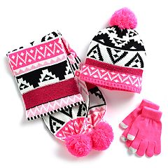 Girls 4-16 Tribal Sequin Hat, Scarf & Gloves Set