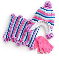 Girls 7-16 Striped Lurex Pom Hat, Gloves & Scarf Set
