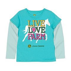 Girls 4-6x John Deere 'Live Love Farm' Mock-Layer Tee