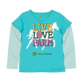 "Girls 4-6x John Deere ""Live Love Farm"" Mock-Layer Tee"