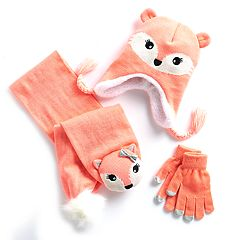 Girls 4-16 Fox 3D Hat, Scarf & Gloves Set