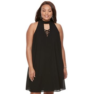 Juniors' Plus Size Speechless Choker Shift Dress