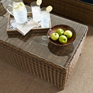 Bradenton Outdoor Wicker Glass Top Table