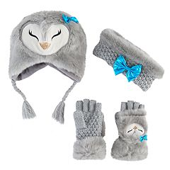 Girls 4-16 Owl Beanie, Headband & Gloves Set
