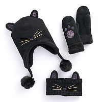 Girls 4-16 Sparkly 3D Ears Cat Hat, Ear Muff Headband & Mittens Set