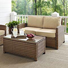 Crosley Outdoor Bradenton 2 pc Outdoor Wicker Seating & Table Set