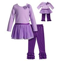 Girls 4-14 Dollie & Me Quilted Top & Ruffle Leggings Set