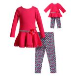Girls 4-14 Dollie & Me Textured Top & Leggings Set